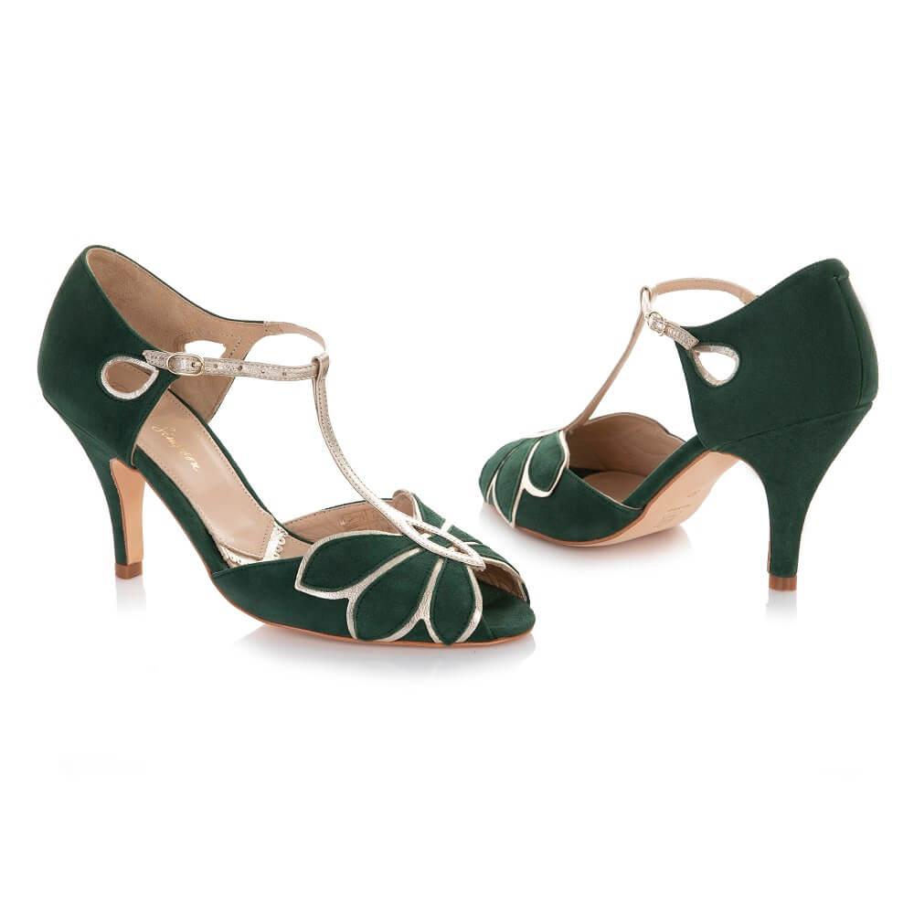 Grüne Schuhe Hochzeitskleid