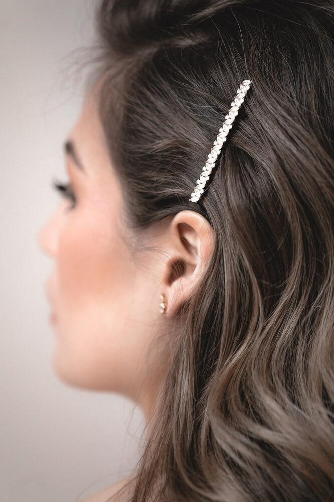 Haarschmuck, Haarclip mit kleinen Kristallen, Silberhaarclip, Haarspange Hochzeit