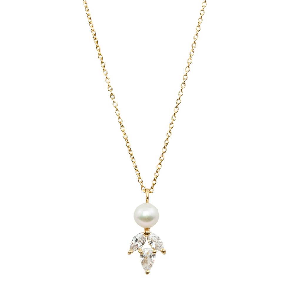 Halskette, Halskette mit Kristall und Perlenanhänger, Rosegold, Goldkette, Silberkette Hochzeit