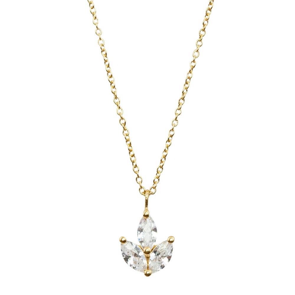 Halskette mit Kristallanhänger, zarte Halskette, Sternsilber, Goldkette Brautschmuck