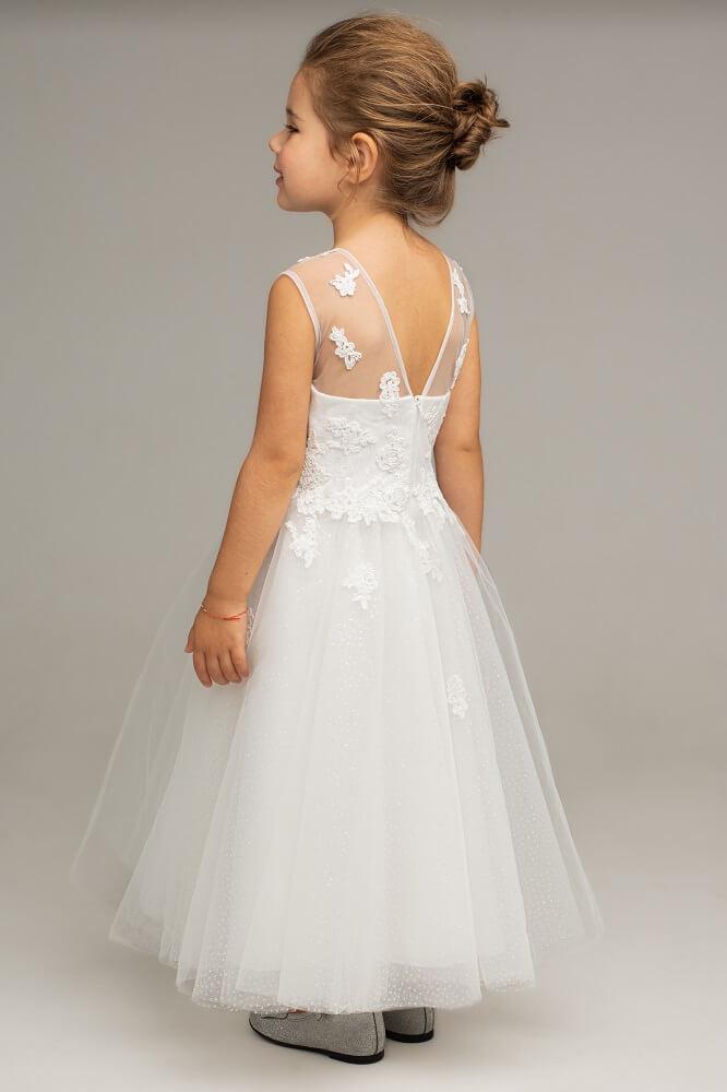 Kleid weiß schulterfrei Kind