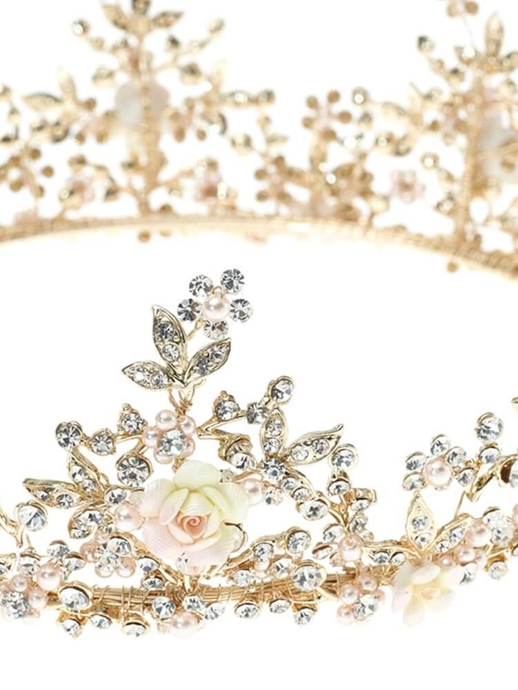 Krone, Krone mit Blumen und Strasssteinen, goldfarbene Krone, Haarschmuck
