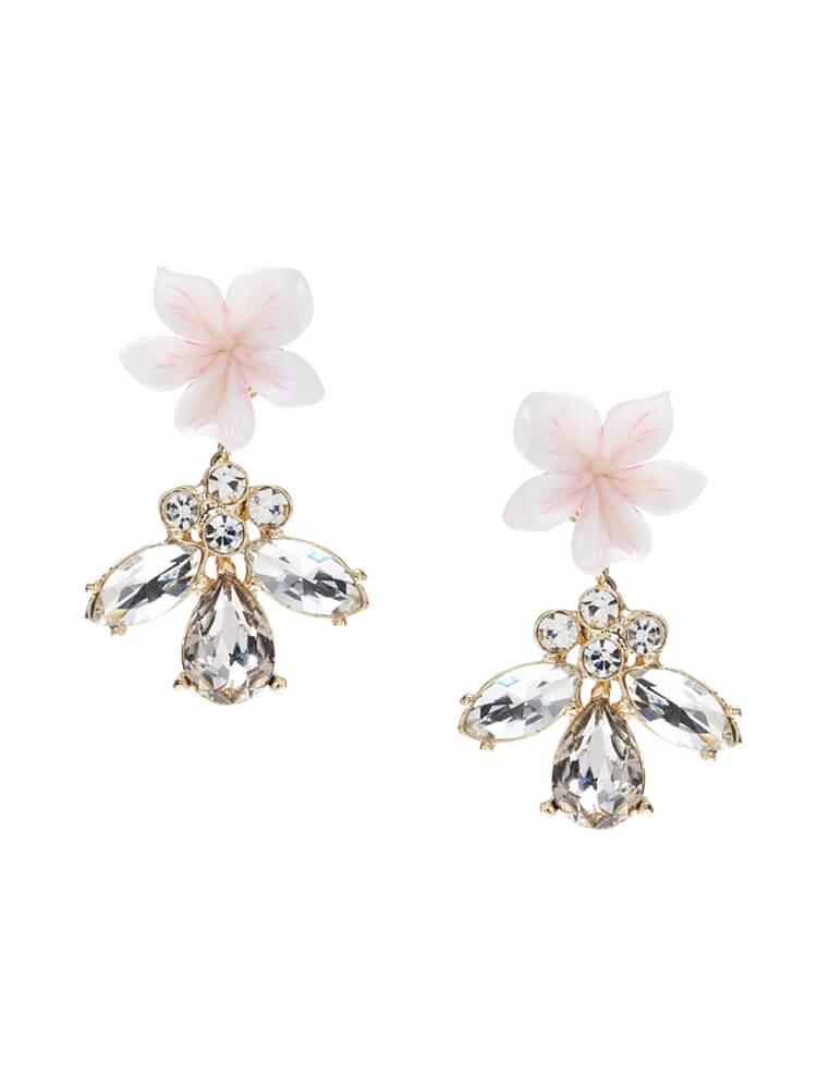Ohrringe mit Blume, Ohrringe mit Strasssteinen, Modeschmuck Hochzeit München