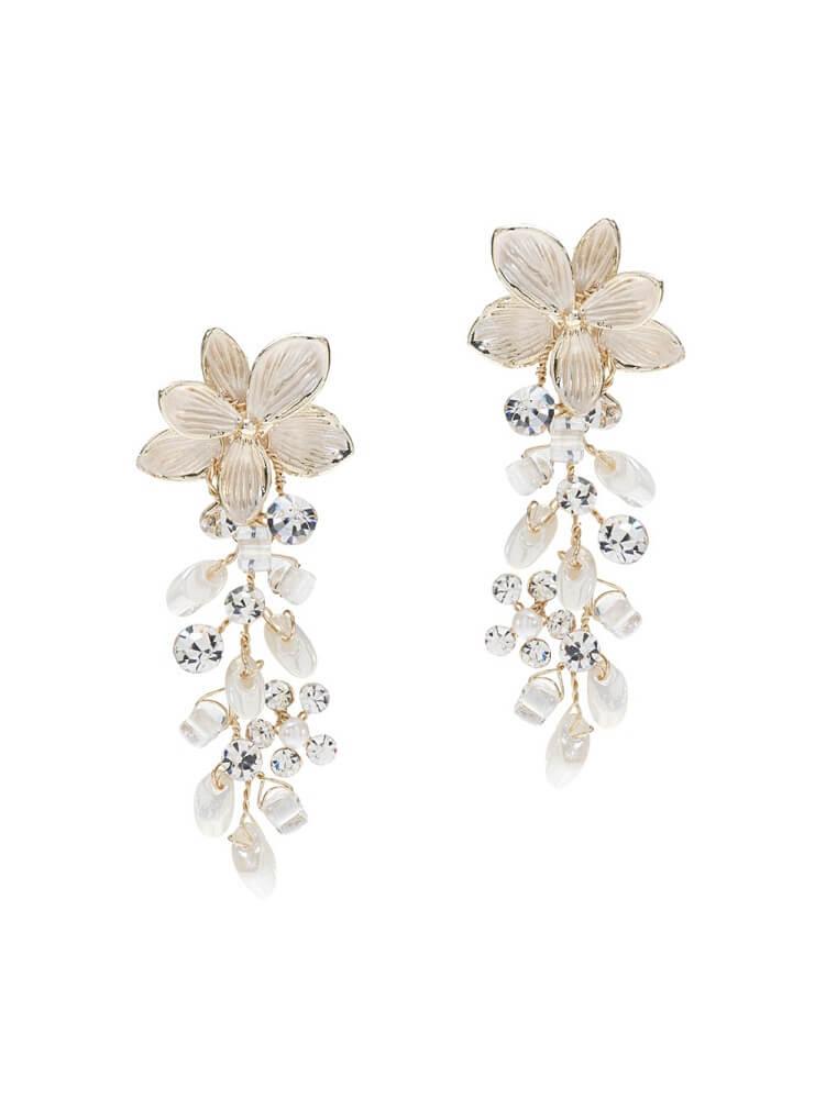 Ohrringe mit Blume, Ohrringe mit Süsswasserperlen, Ohrringe mit Strasssteinen Brautmode