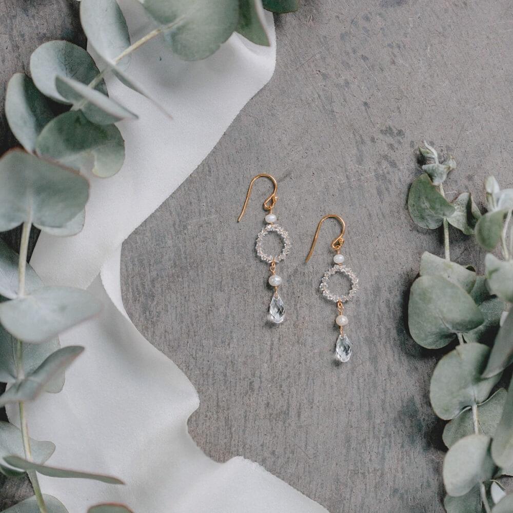 Perlenohrringe, Kristallstecker, Silberohrringe, blütenformige Ohrringe