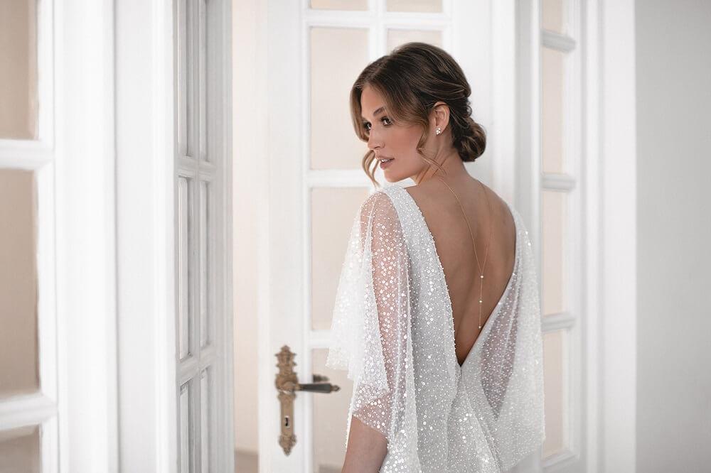 Rückenkette, Rückenkette mit Süsswasserperlen, Silber Rückenkette, Goldkette Braut