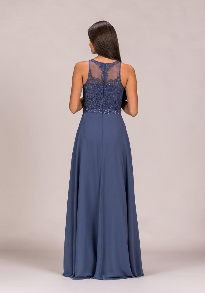 blaues Abendkleid schulterfrei Rücken