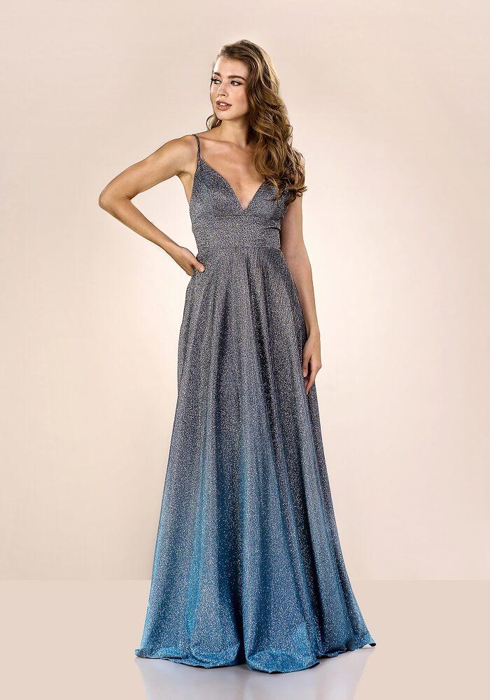 glänzendes Abendkleid in blau und silber