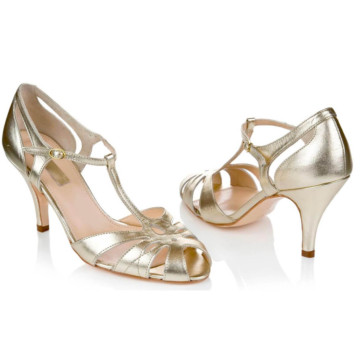 glünzende helle Schuhe für Hochzeitskleid kaufen München