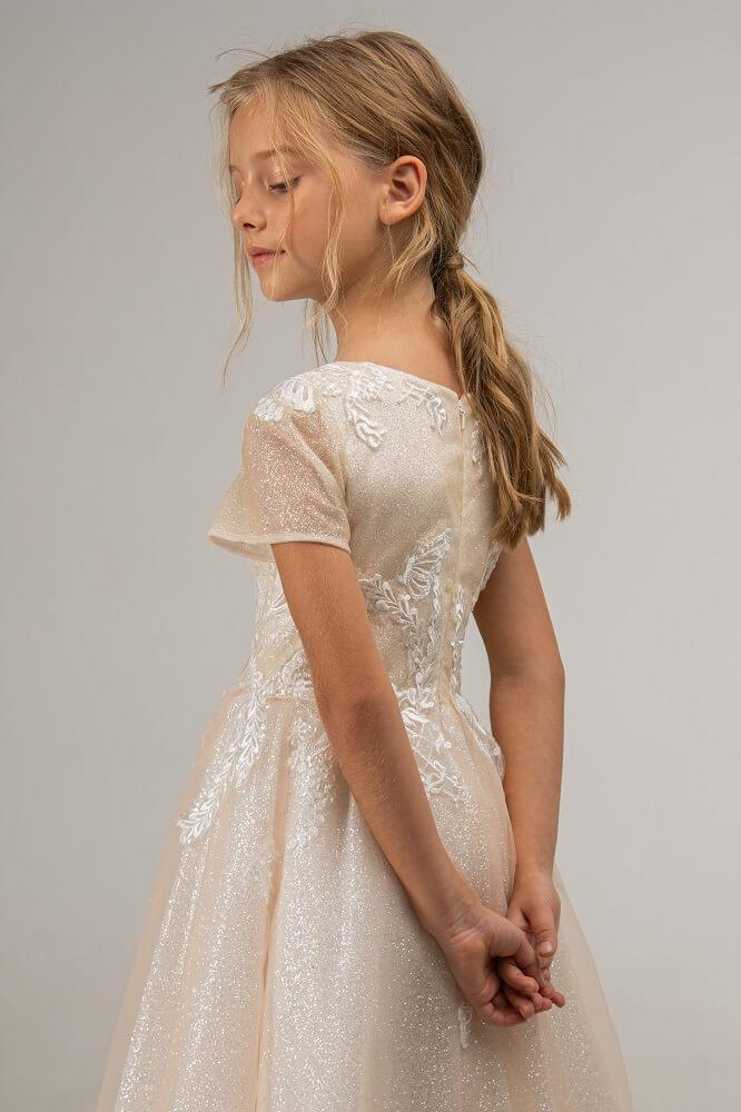 schöne Ärmel weisses Kleid Kind