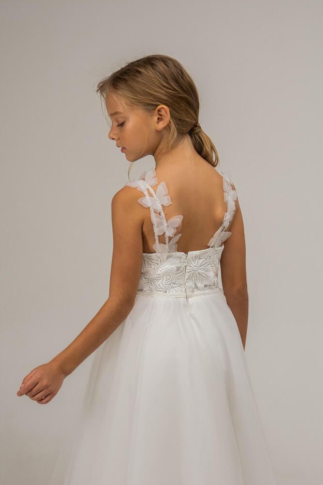 weißes Kleid für Mädchen schulterfrei